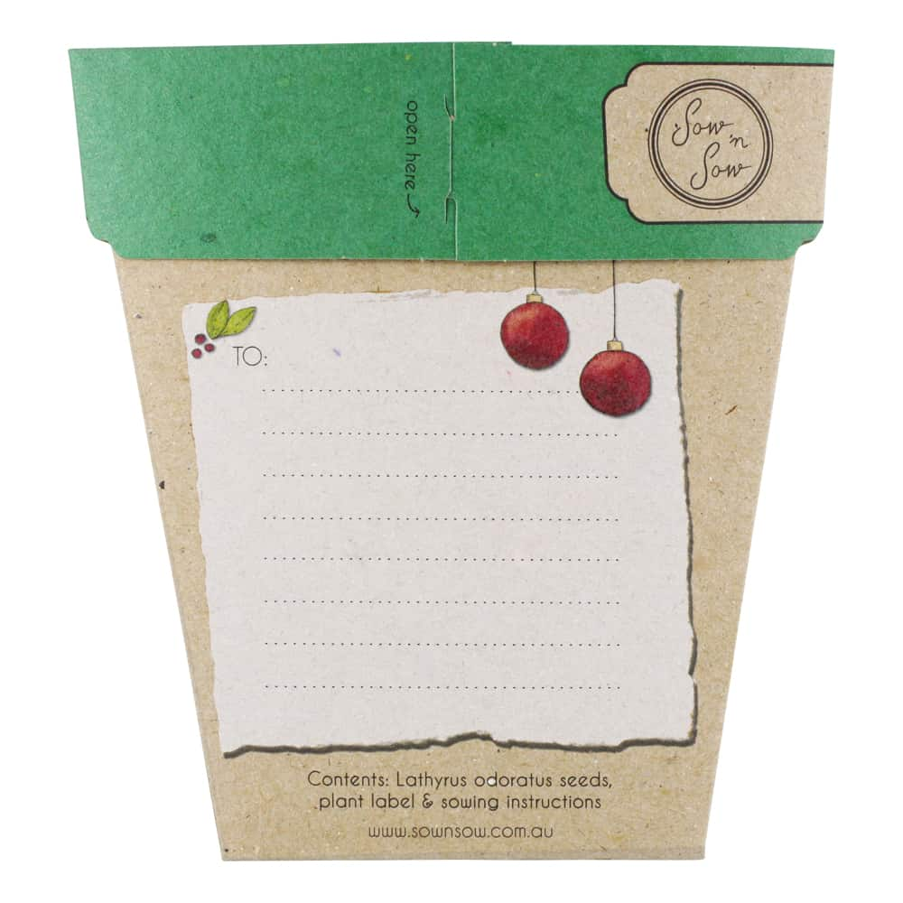 Sweet Pea Christmas Gift of Seeds Packet Back